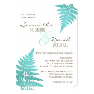 Blue Woodland Wedding Fern Invitation