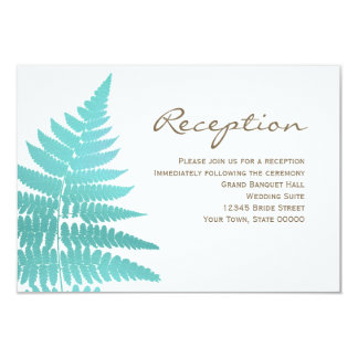 Blue Woodland Wedding Fern Reception Info Card