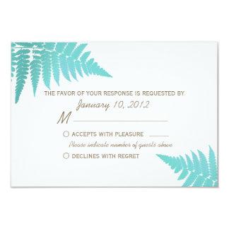 Blue Woodland Wedding Fern RSVP Card