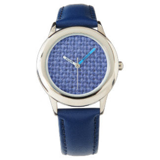 Blue wool texture graphic watch