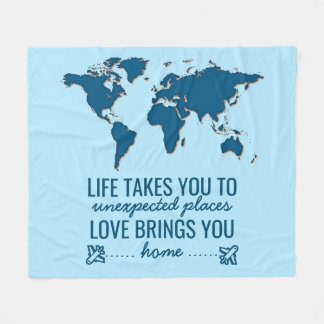 Blue World Map Motivational Life Typography Quote Fleece Blanket