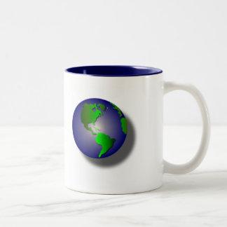 Blue World of Thanks on White Mug