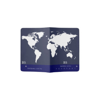 blue worldmap travel passport cover with name