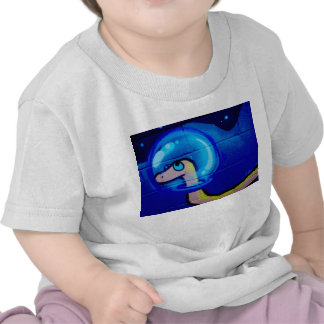Blue worm cartoon painting tshirt