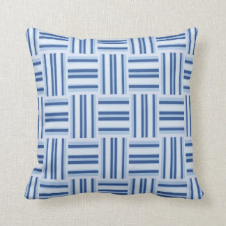 Blue Woven Striped Pattern Accent Throw Pillow