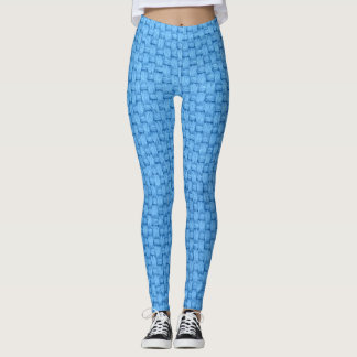 Blue Woven Texture Pattern Leggings