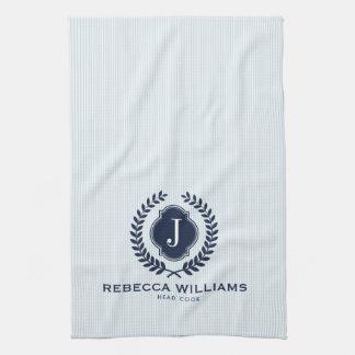 Blue Wreath Badge Custom monogram Tea Towel