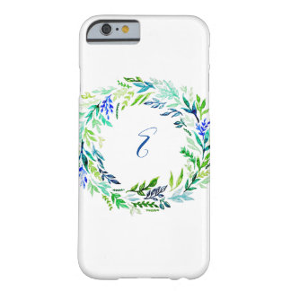 Blue Wreath Monogram Barely There iPhone 6 Case
