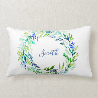 Blue Wreath Monogram Lumbar Cushion