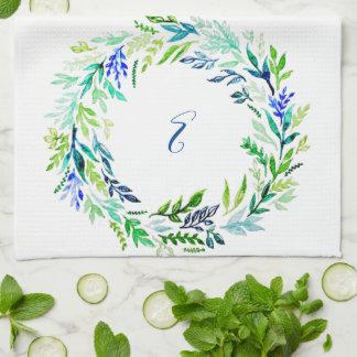 Blue Wreath Monogram Tea Towel