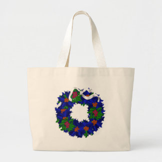 blue wreath with berries large tote bag
