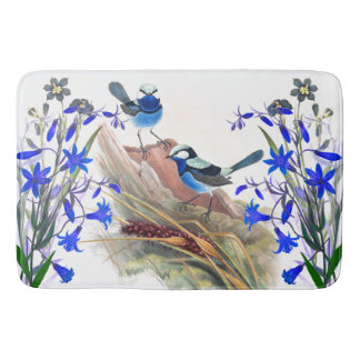 Blue Wren Bird Wildlife Animals Floral Flowers Bath Mats
