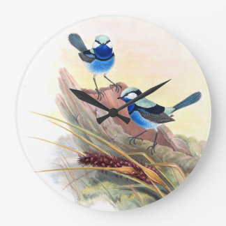 Blue Wren Birds Wildlife Animals Flowers Large Clock