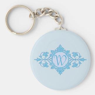 Blue Wrought Metal Look Circle Framed Monogram Key Ring