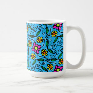 Blue Wth Pink and Yellow Flowers Mug