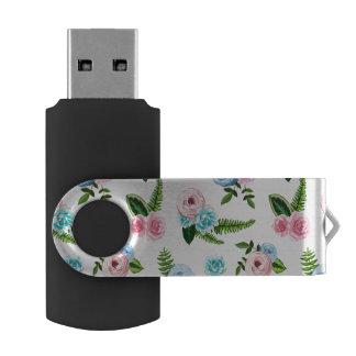 Blue X Pink Flowers on White #2 Swivel USB 2.0 Flash Drive