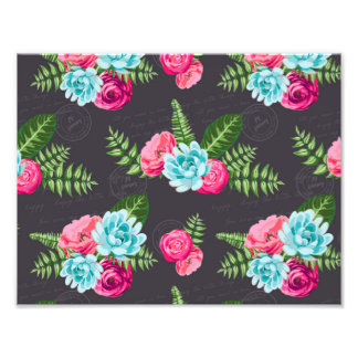 Blue X Pink Flowers Photographic Print