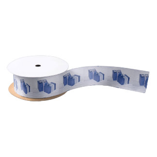 blue XMAS Boxes Satin Ribbon