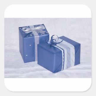 blue XMAS Boxes Square Sticker