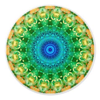 Blue, Yellow and Green Batik Mandala Ceramic Knob
