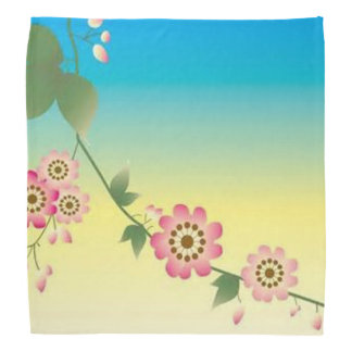 Blue Yellow and Pink Flower Design Kerchief