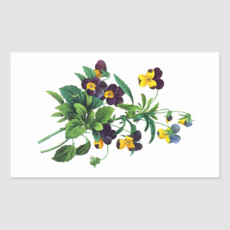Blue Yellow and Purple Pansies By PJoseph Redoute Rectangular Sticker