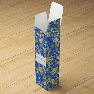 Blue, Yellow and White Paint Splashes 8200 Wine Gift Box