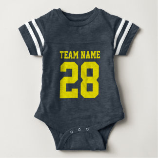 Blue Yellow Baby Football Jersey Sports Romper Baby Bodysuit