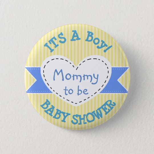 Blue & Yellow Baby Shower Button Mum to Be Button