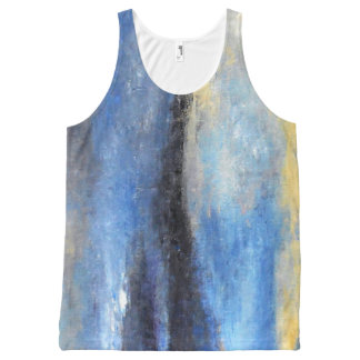 Blue Yellow Beach Abstract Tank Top