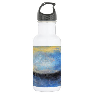 Blue Yellow Beach Abstract Water Bottle