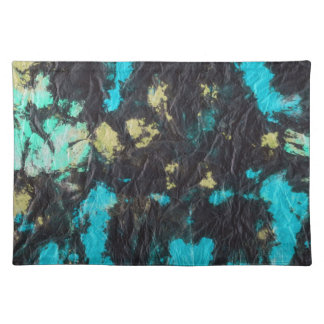 blue yellow black 2 wrinkled paper towel placemat