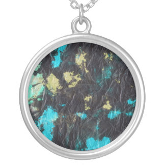 blue yellow black 2 wrinkled paper towel round pendant necklace