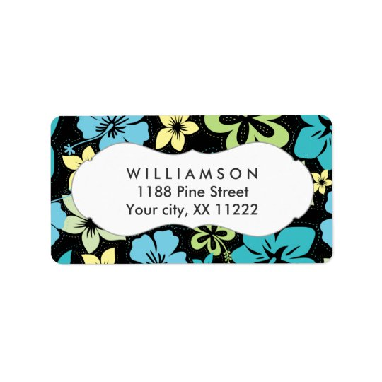 blue yellow black hibiscus hawaiian tropical address label