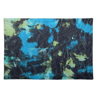 blue yellow black wrinkled paper towel place mat