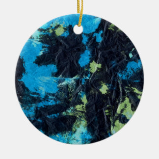 blue yellow black wrinkled paper towel christmas tree ornament
