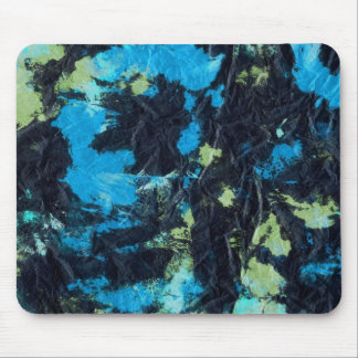 blue yellow black wrinkled paper towel mouse pad