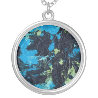 blue yellow black wrinkled paper towel round pendant necklace