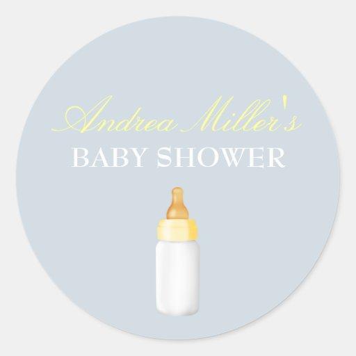 Blue & Yellow bottle Baby Shower Sticker