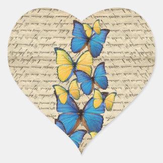 Blue yellow butterrflies heart sticker