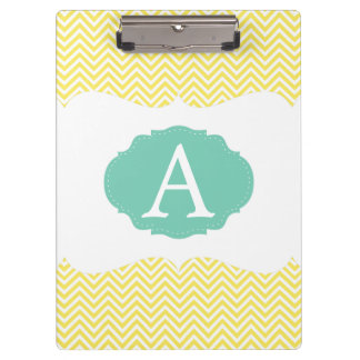 Blue & Yellow Chevron Monogrammed Clipboard
