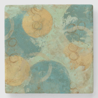 Blue & Yellow Circles Stone Coaster