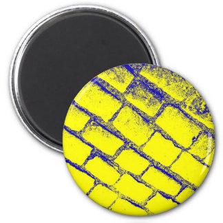 Blue Yellow Cobbles 6 Cm Round Magnet