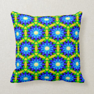 Blue & Yellow Crochet Look Flower Design Cushion