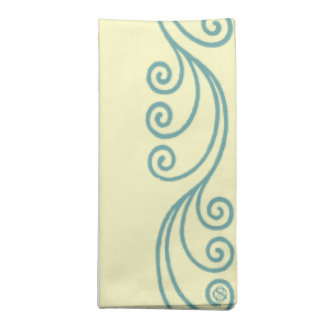 Blue & Yellow Decor-Set of 4 Swirl Cloth Napkins