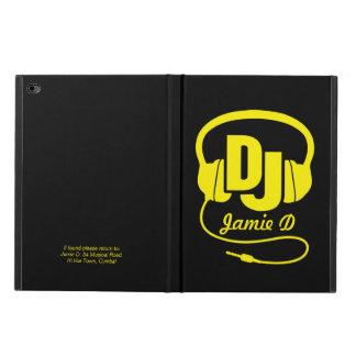 Blue yellow dj music headphones named ipad case