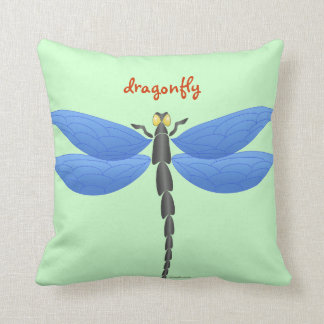 Blue, yellow dragonflies, personalised cushion