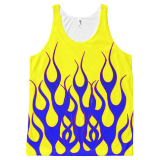 Blue Yellow Flame Graphics All-Over Print Tank Top
