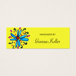 "Blue / Yellow Floral ""Handmade By"" Tags Mini Business Card"