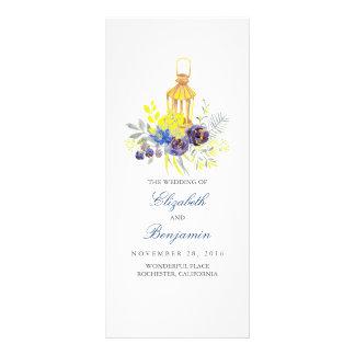 Blue Yellow Floral Lantern Wedding Programs Rack Card